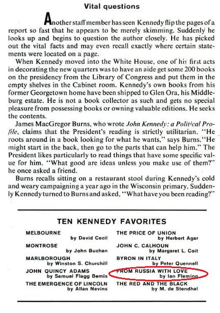 John F. Kennedy læste åbenbart op til 1200 ord i minuttet – og hans 10 yndlingsbøger overrasker da næsten ikke. Læs hele artiklen om hans litterære favoritter her. (klik på billedet for at se den oprindelige artikel i LIFE-magasinet) (Kilde: LIFE)