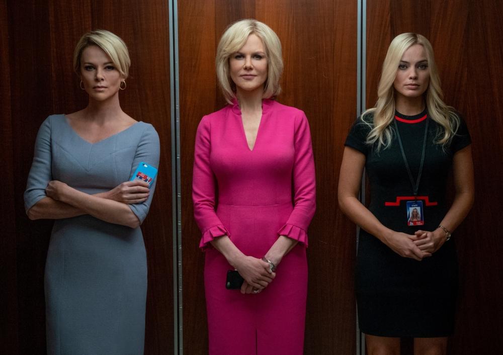 Charlize Theron, Nicole Kidman og Margot Robbie spiller de tre seje kvinder, hvis skæbner på ulykkelig vis influeres af den mandschauvinistiske mediemogul, Roger Ailes. (Foto: Nordisk Film)